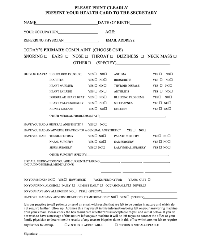 Office Medical Form - Niagara Rhinoplasty
